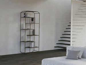 Yin, Bibliothèque en fer avec étagères en bois