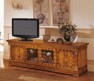 Art. 527/TV, Buffet classique en bois, meuble TV avec des incrustations