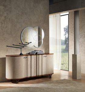 CR60 Mistral buffet, Sideboard en bois recouvert de cuir, pour les salles à manger