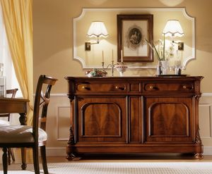 D'Este buffet, Noyer Buffet avec 2 portes et 2 tiroirs