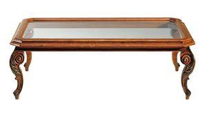 De chirico RA.0686.A, Table basse rectangulaire en bois de noyer, plateau en verre, sculpté jambes, pour les environnements classiques