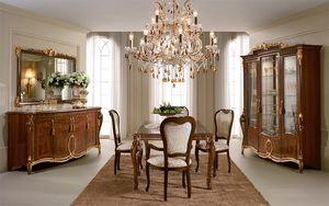 Donatello buffet, Luxe Buffet classique, des incrustations et des sculptures faites à la main, plateau en verre