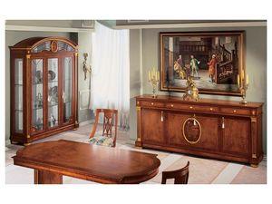 IMPERO / Sideboard with 4 doors, Buffet de style classique, en bois avec des finitions en or
