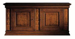 Medicea ME.0450, Noyer Buffet, avec 2 portes et 2 tiroirs, incrusté en érable et bois de rose, 1500 de style Florence