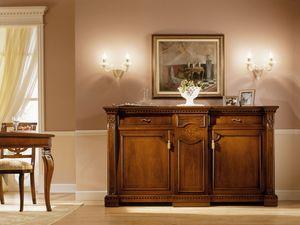 REGINA NOCE / Sideboard, Luxe Buffet classique en bois massif, pour le salon
