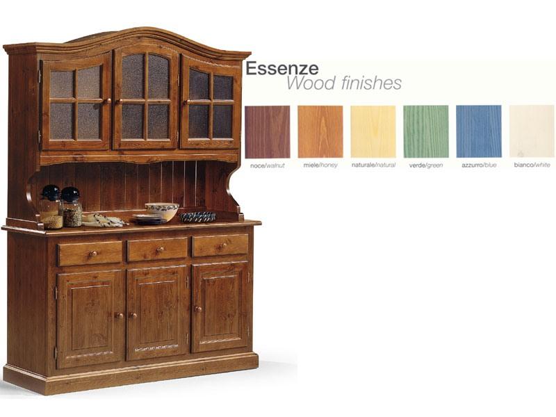VAD/3, Buffet en bois avec armoire en verre, pour la cuisine rustique