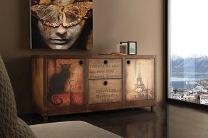 Art. 710CN Industrial Vintage buffet, Buffet vintage, finition effet rouille et bois vieilli
