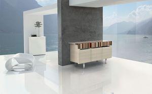 ATHENA 1.7 BC-ACERO, Buffet en bois avec inserts bois précieux, propice environnements modernes et élégants