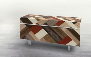 ATHENA 1.7 PW45, 3 portes Buffet, 2 tiroirs, inserts de différents bois, idéal pour les environnements modernes