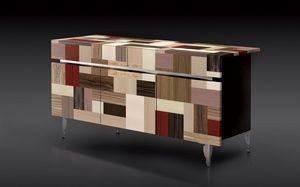 ATHENA 1.7 PW90 LA-BLACK, 3 portes Buffet, 2 tiroirs, des finitions de grande valeur, idéal pour l'environnement résidentiel moderne