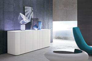 BANDS, Design buffet avec plateau en verre extra-clair peint