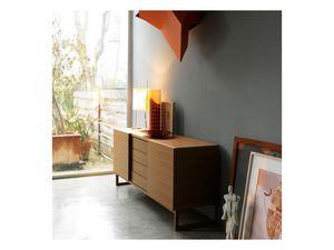 Fast, Buffet en bois avec portes coulissantes, style moderne
