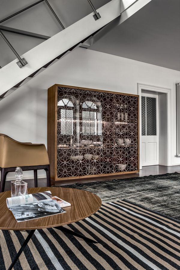 GRANADA, Buffet avec structure en bois, portes en verre dépoli