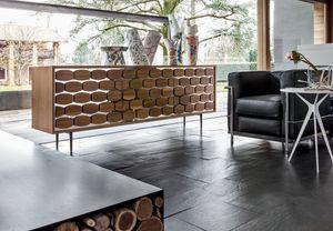 HONEY, Buffet en bois, avec une décoration ruche, pour le salon