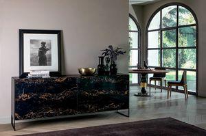 IDRA, Buffet avec portes coplanaires en grès cérame et base en métal