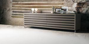 Line, Buffet en bois avec 2 portes coulissantes, des inserts en noyer