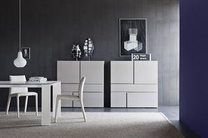 Quadra, Cabinet pour les salles de séjour avec tiroirs sans poignées