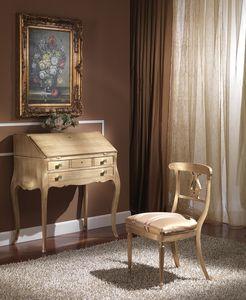 712 WRITING DESK, Classique bureau de luxe avec rabat, finition feuille d'or