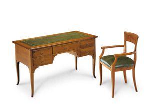 Art. 102V, Bureau en bois, avec dessus en cuir