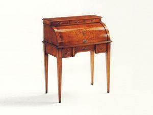 Blake, Bureau en bois, bureau de luxe classique pour