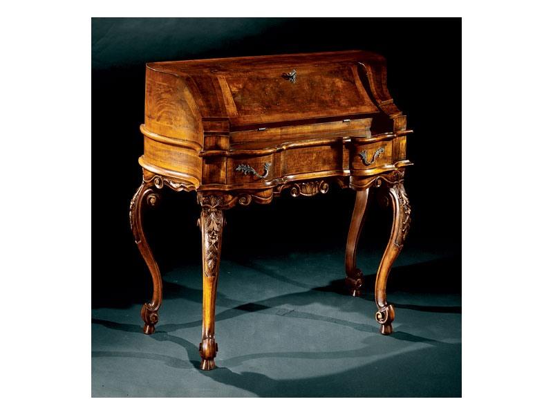 Complements writing desk 705, Bureau en bois marqueté, style classique de luxe