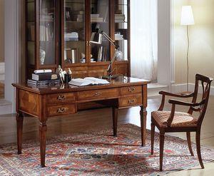 D 401, Classique en bois bureau cerise, plateau marqueté, 5 tiroirs