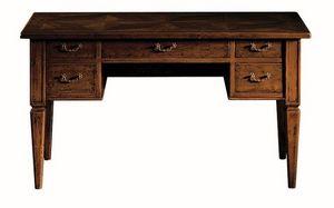 Empoli ME.0947, Walnut bureau avec 5 tiroirs, le style de luxe classique