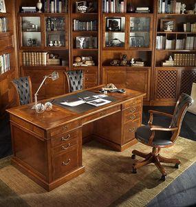 R 401, Bureau exécutif en bois de cerisier, dessus cuir, compartiment secret
