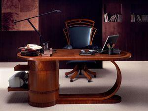 SC16 Zebrano, Bureau en bois avec tiroirs, de style classique