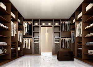 ATLANTE dressing comp.10, Elégant walk-in garde-robe pour chambre à coucher, en noyer foncé