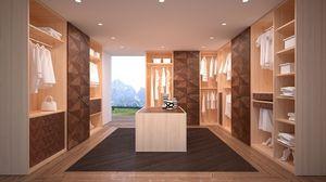 AR22 Desyo, Marcher une armoire entièrement personnalisable et modulaire, avec structure en bois de chêne, décoré avec Stampini de noix précieux