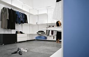 Dot Wardrobe, Dressing en aluminium, équipé de barres de lumière