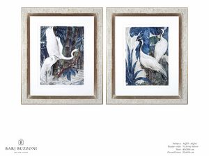 Art and Nature, white herons I - Art and Nature, white herons II - AQ33 - AQ34, Peintures à l'aquarelle avec des hérons