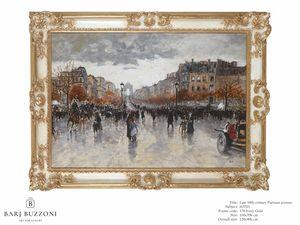 Late 19th Century, parisian Avenue – H 3703, Tableau peint à l'huile