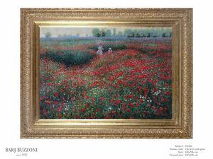 Promenade in the poppies field – H 1026, Peinture à l'huile avec des coquelicots