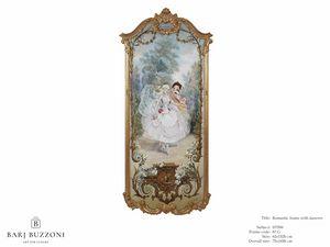 Romantic frame with dancers – H 3596, Peinture à l'huile classique sur toile