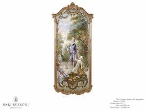 Romantic frame with musician – H 3597, Peinture à l'huile de style classique