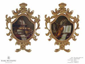 The artist atelier I-II – H 2648-2649, Oeuvre de cadre en bois sculpté à la main