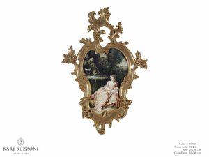 The expectation – H 3826, Peinture avec cadre sculpté somptueux