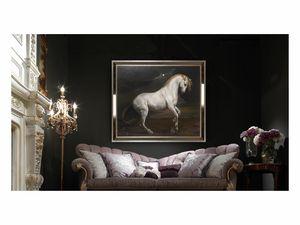 White horse – H 3698, Peinture à l'huile avec élégant cheval blanc