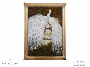 White peacocks dreaming – H 2326, Peinture à l'huile avec des paons blancs