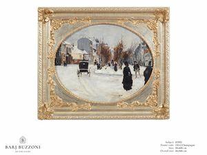 Winter's day – H 3951, Peinture à l'huile avec cadre décoratif