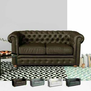 Canapé 2 places en cuir Capitonné CHESTERFIELD Design - DI764CHEPUM, Canapé Chesterfield en similicuir