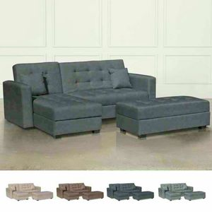 Canapé-lit d'angle avec péninsule 3 places et pouf MADREPERLA prêt pour le conteneur, Canapé-lit conteneur avec péninsule