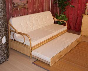 Canapé-lit Giunco, Canapé-lit avec structure en canne, style ethnique