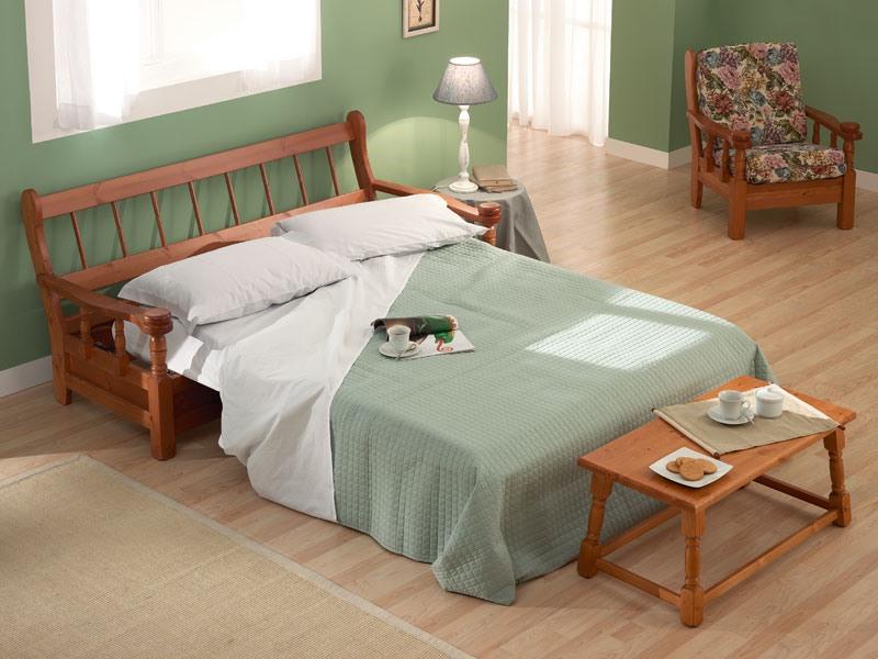 Vienna Sofa Bed, Canapé-lit en bois dans un style rustique, pour la maison de ferme