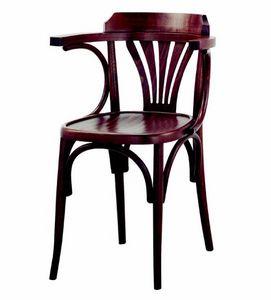99 Milano/P, Chaise en bois courbé avec accoudoirs