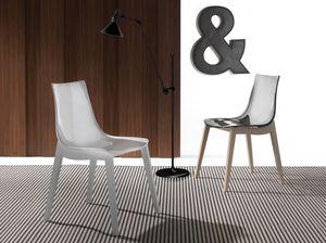 Art. 017 Orbital Wood, Chaise avec assise acrylique, pieds en bois de hêtre