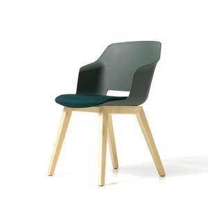 Clop 4 jambes bois imb, Chaise rembourrée avec pieds en bois