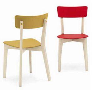 Holly, Chaise en bois avec assise et dossier en plastique